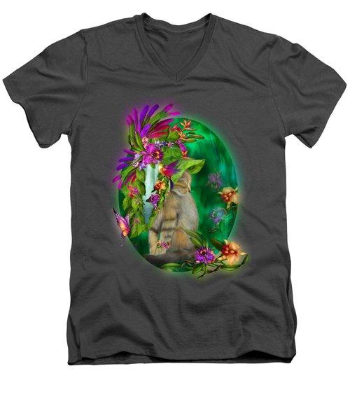 Cat In Tropical Dreams Hat Men's V-Neck T-Shirt by Carol Cavalaris