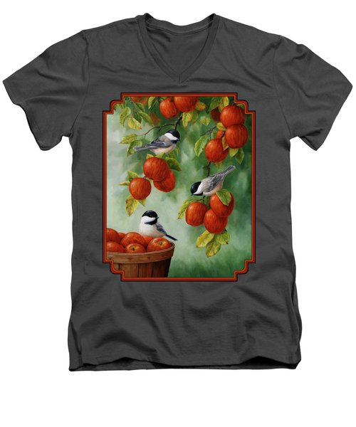 Bird Painting - Apple Harvest Chickadees Men's V-Neck T-Shirt by Crista Forest