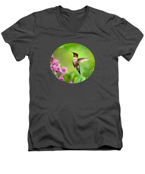 Welcome Home Hummingbird Men's V-Neck T-Shirt by Christina Rollo