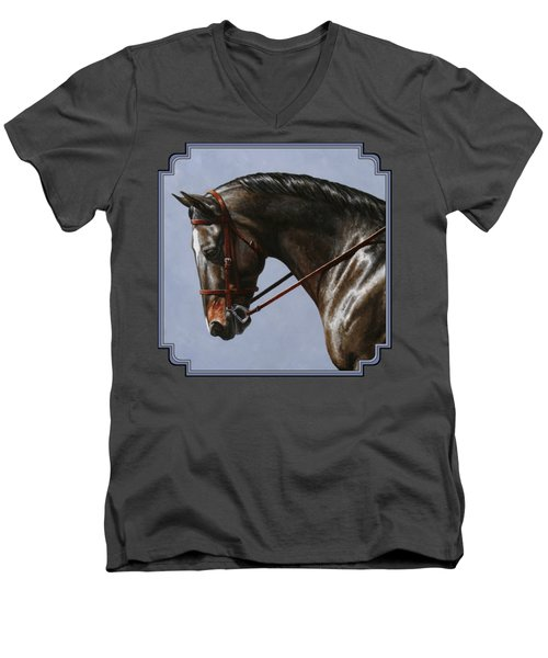 Horse Painting - Discipline Men's V-Neck T-Shirt by Crista Forest