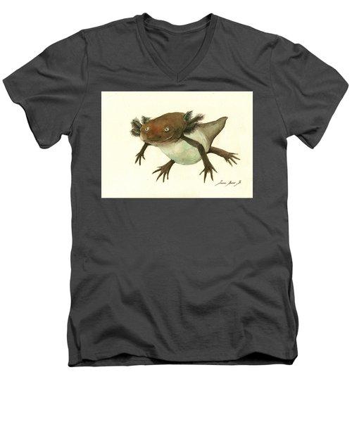 Axolotl Men's V-Neck T-Shirt by Juan Bosco
