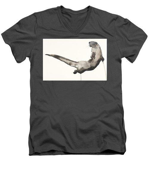 Back Awash   Otter Men's V-Neck T-Shirt by Mark Adlington