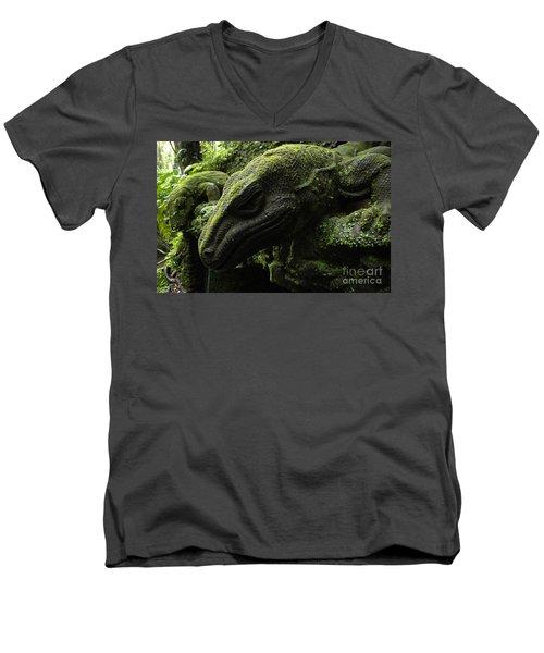 Bali Indonesia Lizard Sculpture Men's V-Neck T-Shirt by Bob Christopher