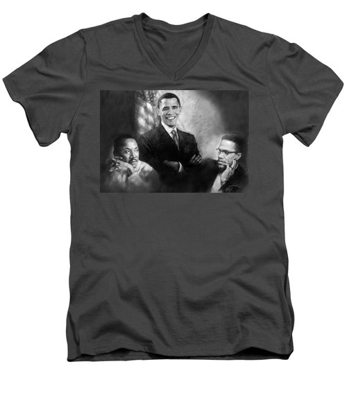 Barack Obama Martin Luther King Jr And Malcolm X Men's V-Neck T-Shirt by Ylli Haruni