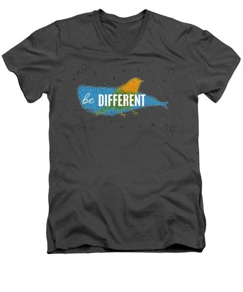 Be Different Men's V-Neck T-Shirt by Aloke Design