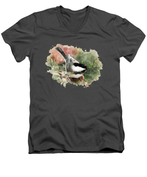 Beautiful Chickadee - Watercolor Art Men's V-Neck T-Shirt by Christina Rollo