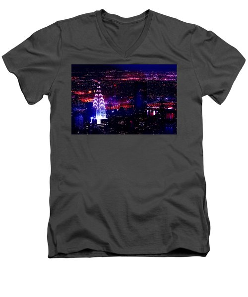 Beautiful Manhattan Skyline Men's V-Neck T-Shirt by Az Jackson
