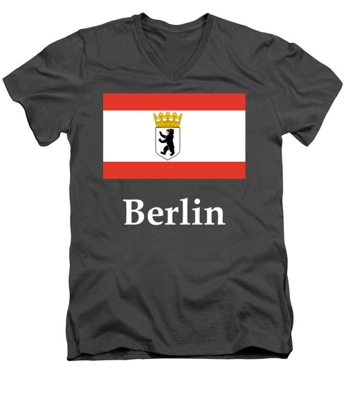Berlin, Germany Flag And Name Men's V-Neck T-Shirt by Frederick Holiday