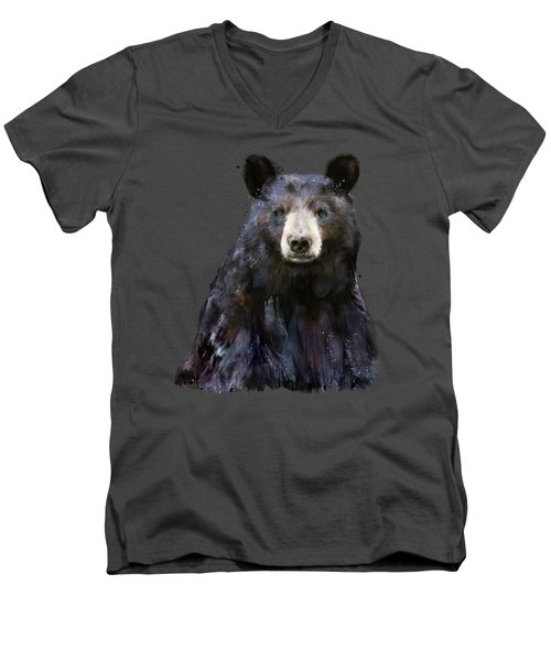 Black Bear Men's V-Neck T-Shirt by Amy Hamilton