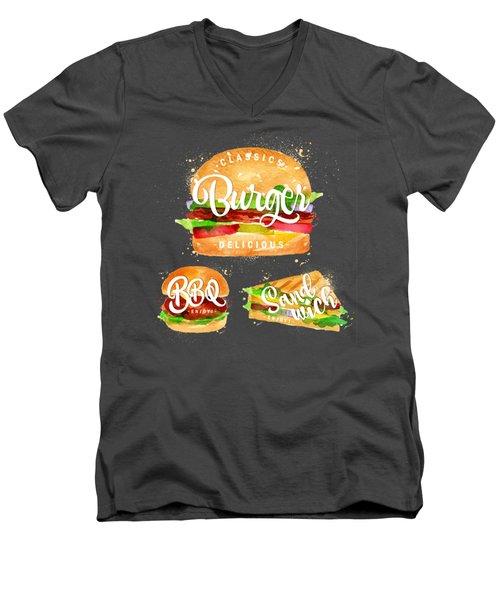 Black Burger Men's V-Neck T-Shirt by Aloke Design