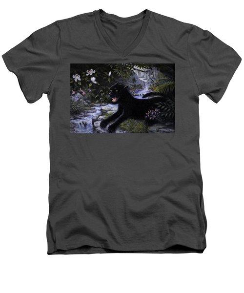 Black Panther Men's V-Neck T-Shirt by Charles Kim