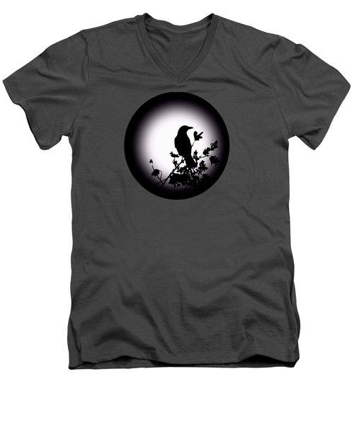 Blackbird In Silhouette  Men's V-Neck T-Shirt by David Dehner