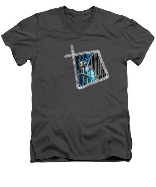Blue Bird Men's V-Neck T-Shirt by Aissa Belbaz