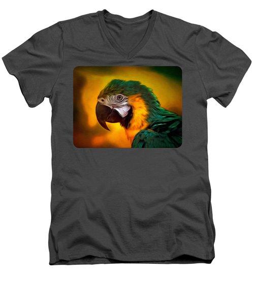 Blue Macaw Parrot Portrait Men's V-Neck T-Shirt by Linda Koelbel
