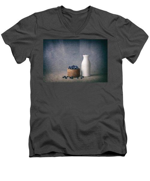 Blueberries And Cream Men's V-Neck T-Shirt by Tom Mc Nemar