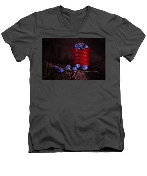 Blueberry Delight Men's V-Neck T-Shirt by Tom Mc Nemar