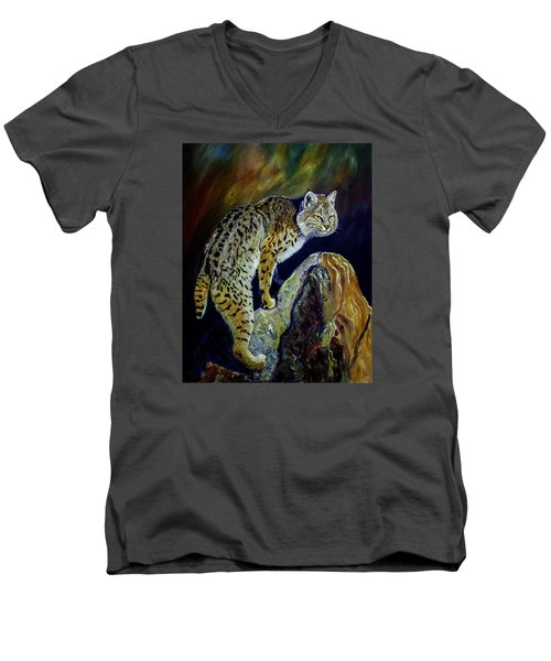 Bobcat At Sunset Original Oil Painting 16x20x1 Inch On Gallery Canvas Men's V-Neck T-Shirt by Manuel Lopez
