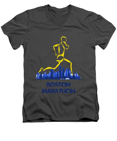 Boston Marathon5 Men's V-Neck T-Shirt by Joe Hamilton