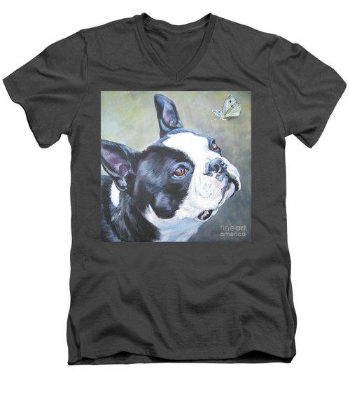 boston Terrier butterfly Men's V-Neck T-Shirt by Lee Ann Shepard