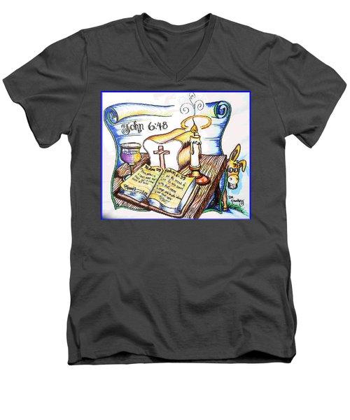 Bread Of Life Men's V-Neck T-Shirt by Duane Bemis