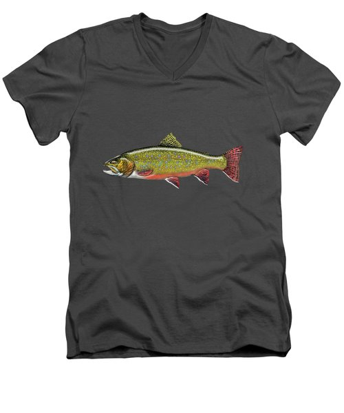 Brook Trout On Red Leather Men's V-Neck T-Shirt by Serge Averbukh