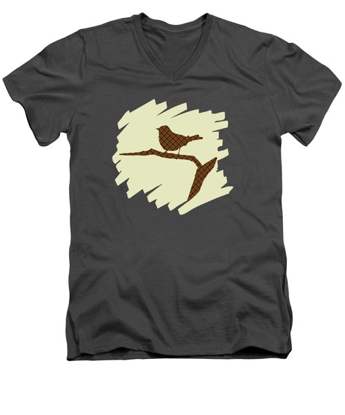 Brown Bird Silhouette Modern Bird Art Men's V-Neck T-Shirt by Christina Rollo