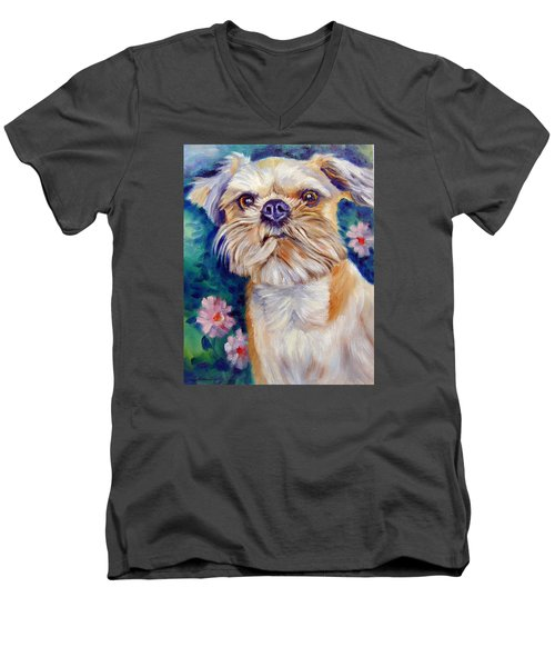Brussels Griffon Men's V-Neck T-Shirt by Lyn Cook