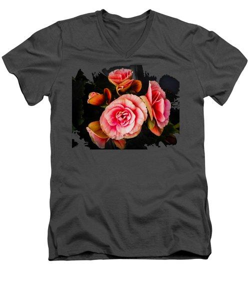 Bygone Begonias Men's V-Neck T-Shirt by Jennifer Kohler