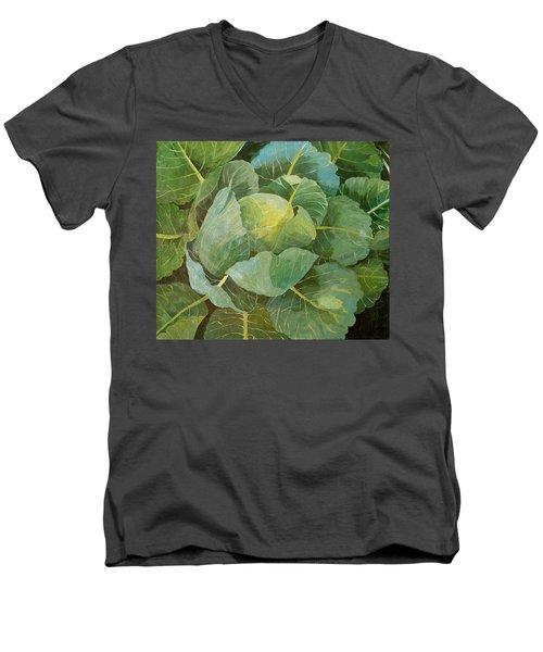 Cabbage Men's V-Neck T-Shirt by Jennifer Abbot
