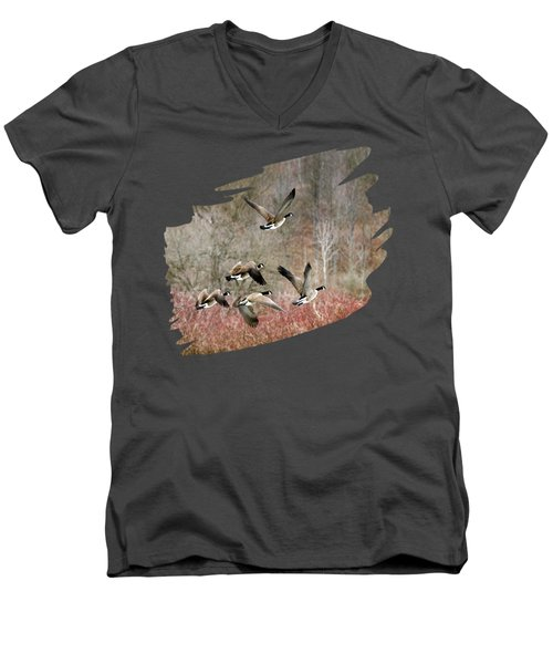 Canada Geese In Flight Men's V-Neck T-Shirt by Christina Rollo