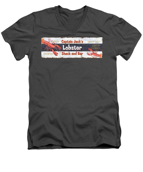 Captain Jack's Lobster Shack Men's V-Neck T-Shirt by Debbie DeWitt