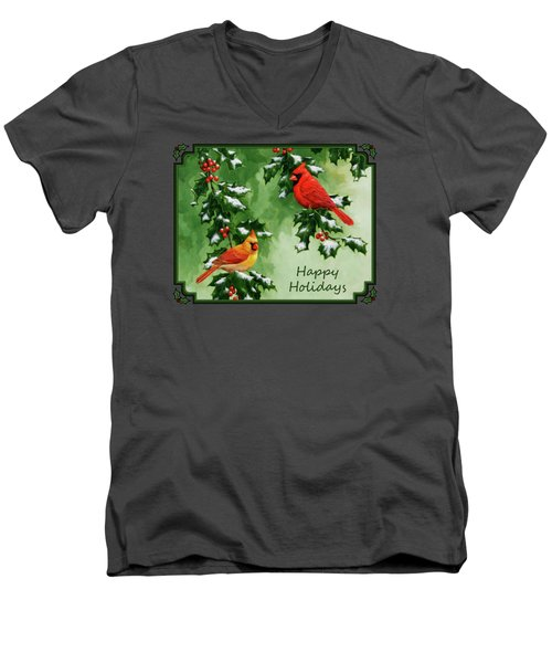 Cardinals Holiday Card - Version With Snow Men's V-Neck T-Shirt by Crista Forest