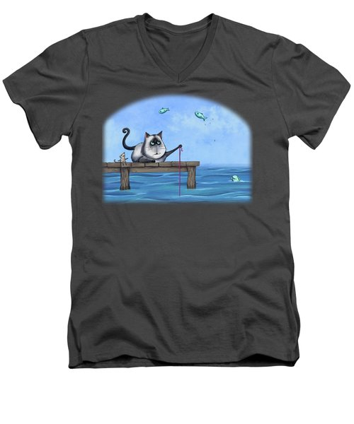 Cat Fish Men's V-Neck T-Shirt by Temah Nelson