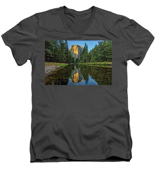 Cathedral Rocks Morning Men's V-Neck T-Shirt by Peter Tellone