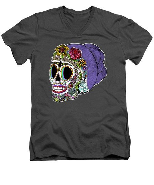 Catrina Sugar Skull Men's V-Neck T-Shirt by Tammy Wetzel