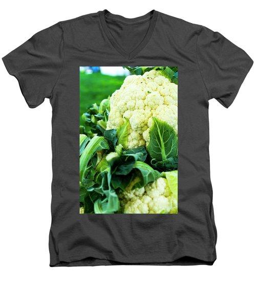 Cauliflower Head Men's V-Neck T-Shirt by Teri Virbickis