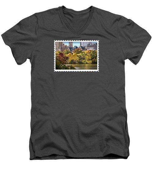Central Park Lake In Fall Men's V-Neck T-Shirt by Elaine Plesser