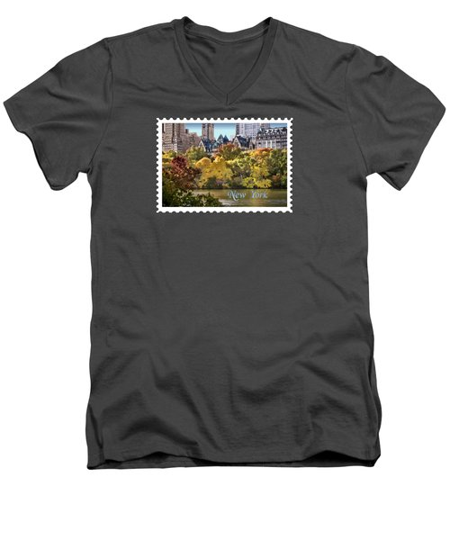 Central Park Lake In Fall Text New York Men's V-Neck T-Shirt by Elaine Plesser