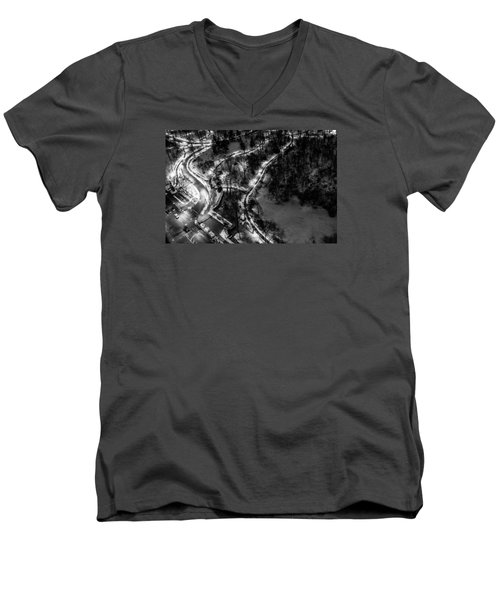 Men's V-Neck T-Shirt featuring the photograph Central Park Trails by M G Whittingham