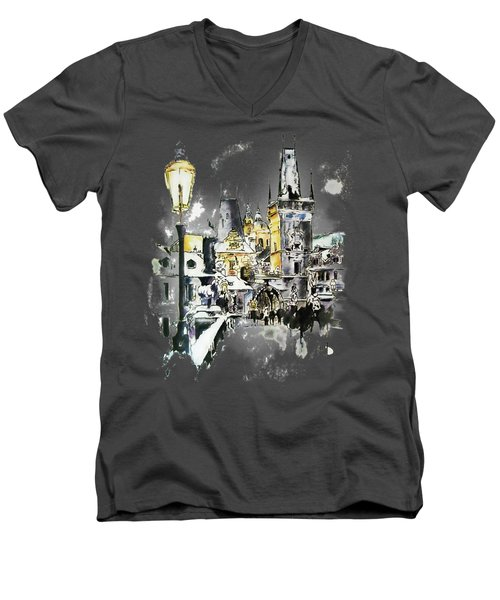Charles Bridge In Winter Men's V-Neck T-Shirt by Melanie D