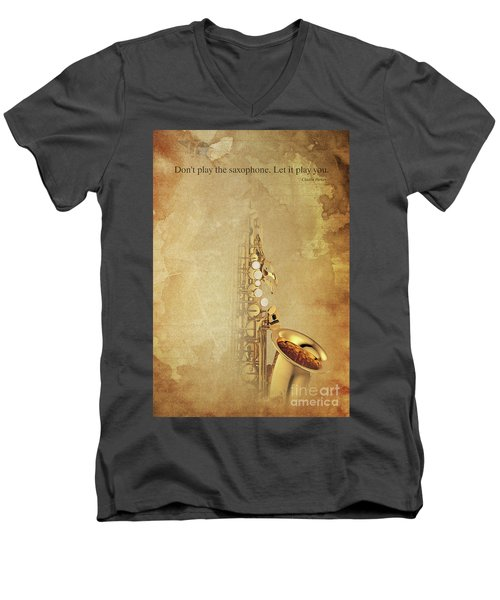 Charlie Parker Saxophone Brown Vintage Poster And Quote, Gift For Musicians Men's V-Neck T-Shirt by Pablo Franchi