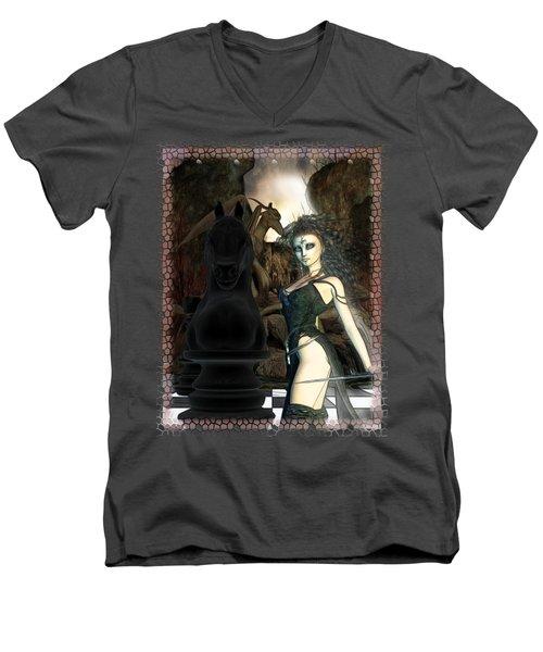 Chess 3d Fantasy Art Men's V-Neck T-Shirt by Sharon and Renee Lozen