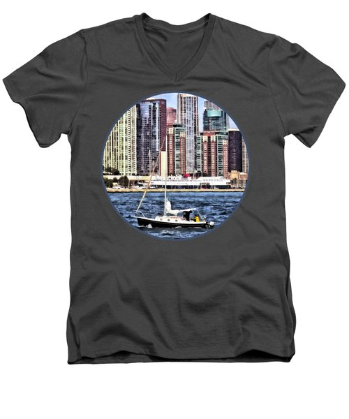 Chicago Il - Sailing On Lake Michigan Men's V-Neck T-Shirt by Susan Savad