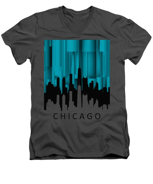 Chicago Turqoise Vertical Men's V-Neck T-Shirt by Alberto RuiZ