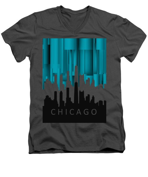 Chicago Turqoise Vertical In Negetive Men's V-Neck T-Shirt by Alberto RuiZ