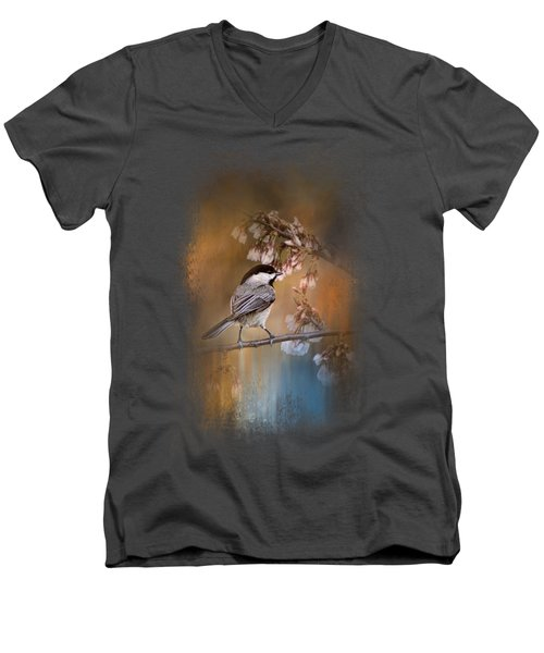 Chickadee In The Garden Men's V-Neck T-Shirt by Jai Johnson