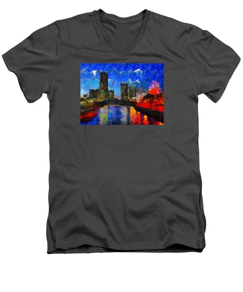 City Living - Tokyo - Skyline Men's V-Neck T-Shirt by Sir Josef Social Critic - ART