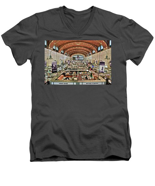 Classic Westside Market Men's V-Neck T-Shirt by Frozen in Time Fine Art Photography