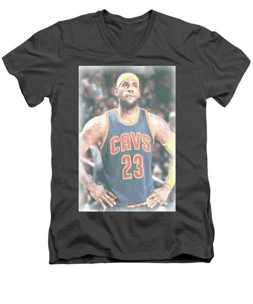 Cleveland Cavaliers Lebron James 5 Men's V-Neck T-Shirt by Joe Hamilton