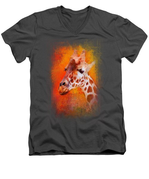 Colorful Expressions Giraffe Men's V-Neck T-Shirt by Jai Johnson
